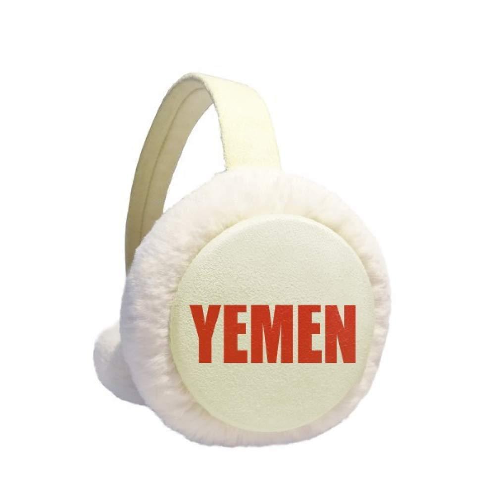 Yemen Country Name Red Earmuff Ear Warmer Faux Fur Foldable Outdoor