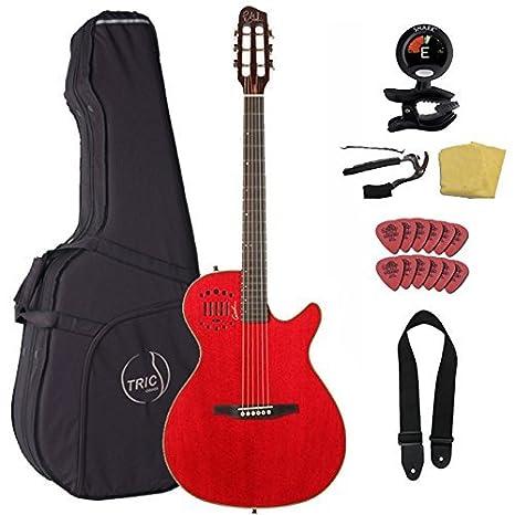 Godin multiac acero Duet Ambiance acústica, guitarra eléctrica, rojo, con caja de caso y Pack de accesorios: Amazon.es: Instrumentos musicales