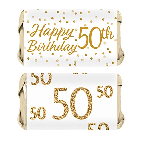 50th Birthday Party Mini Candy Bar Wrappers | White and Gold | 45 Stickers (Miniature Candy Jar)