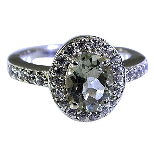 Gemsonclick Real Green Amethyst Engagement Rings For Her 925 Silver Halo Setting Oval Shape Size 5-12 - 10 Oval Mens Ring Setting