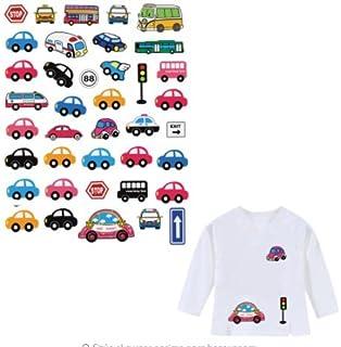 OPEN BUY Pegatinas infantiles transfer parche termoadhesivo coches y autobuses para pijamas, sudaderas, camisetas