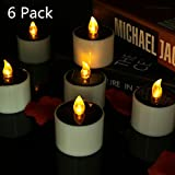 6 pcs Waterproof Solar LED Candle Lights Doremy Flameless Tealights Flickering Electronic Candles for Festival Gift Home Decoration Romantic Night Light Outdoor Activities Emergency Lights (6 Pack)