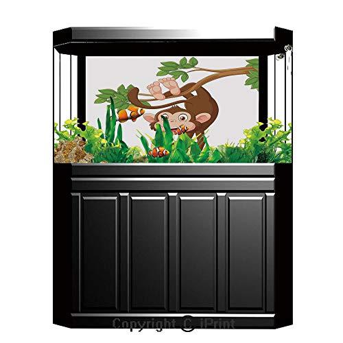 Fish Tank Background Decor Static Image Backdrop,Cartoon,Funny Monkey Hanging from Tree with Banana Jungle Animals Theme Mascot Print Decorative,Chocolate White,Underwater Ecosystem Photography Backdr