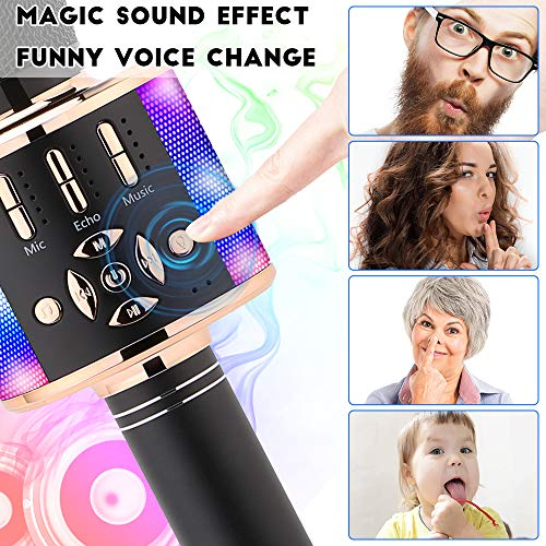Ankuka Karaoke Microphone for Kids, Fun Toys for Girls and Boys, Portable Wireless 4 in 1 Bluetooth Karaoke Microphone with LED Lights (Black Gold)