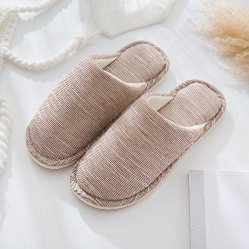 Inverno habuji pantofole di cotone cotone imbottito di pantofole femmina interni home pavimenti in legno antiscivolo scarpe per uso domestico, 44-45, caffè