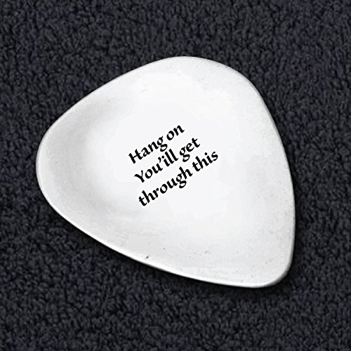 Guitar Picks -Hang On You Get Through This - Motivational Phrase - Music Lover Gifts - Great Birthday Gifts - Metal Guitar Picks - Guitar Picks
