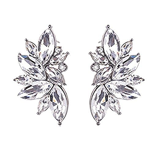 Art Deco Antique Vintage Style Clear Bridal Wedding Formal Rhinestone Cluster Earrings (Vintage Bridal Earrings)