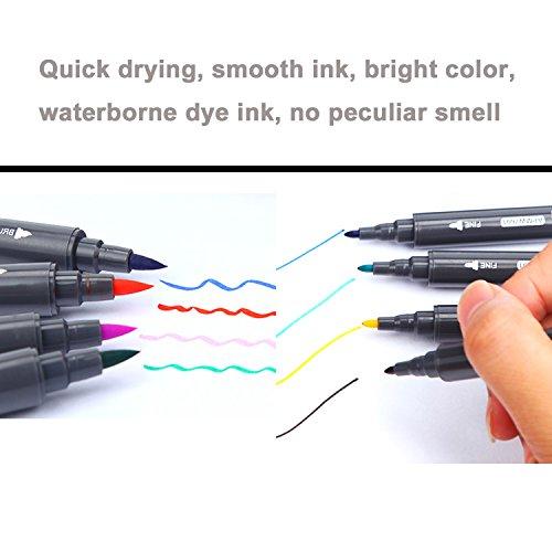 Lasten® 12 Colors Dual Tips Coloring Marker Pens Set, Brush Tip ...