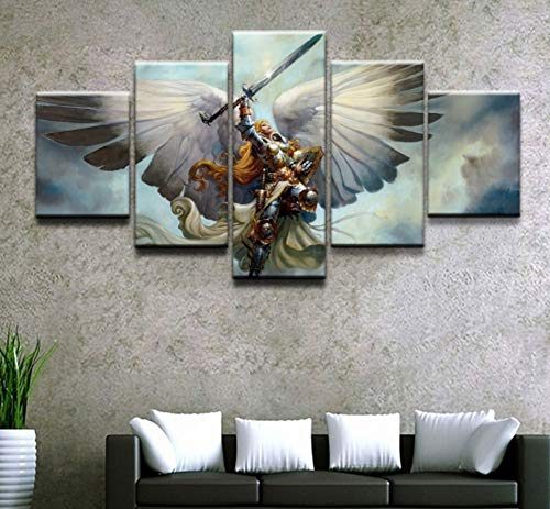 sansiwu X Wall Art Canvas Hd Printed Posters 5 Pieces Gathering Magic Game Angel Role Paintings Pictures Home Decorative