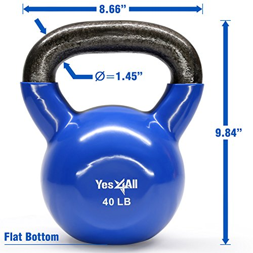 Yes4All Vinyl Coated Kettlebell Weights Set – Great for Full Body Workout and Strength Training – Vinyl Kettlebell 40 lbs by Yes4All (Image #1)