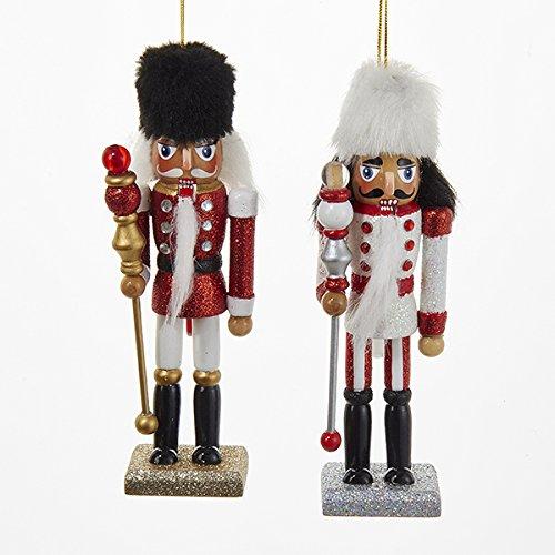 (Kurt Adler 1 Set 2 Assorted 6 Inch Hollywood Nutcracker With Fur Hats Christmas Ornaments)