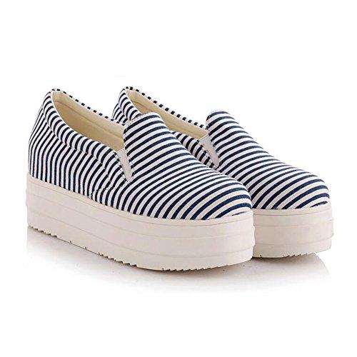 Summerwhisper Damesschoen Met Gestreepte Elastische Plateauzool Met Slip Op Loafers Lage Sneakers Blauw