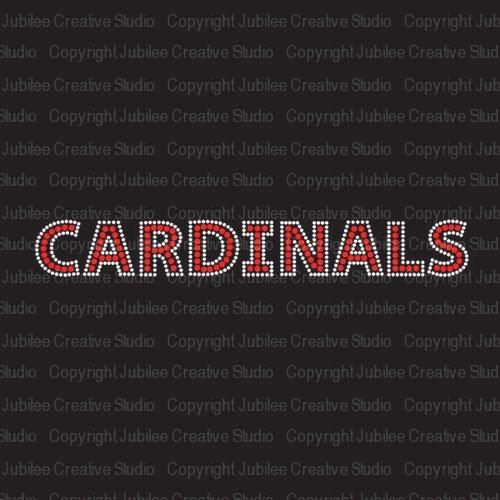 Cardinals Red Iron On Rhinestone Crystal T-Shirt Transfer by JCS Rhinestones