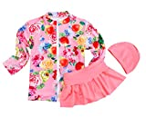 TAIYCYXGAN Little Big Girls Two Pieces Flowers Swimsuit Set Long Sleeve Rash Guards Bathing Suit Swimdress With Hat Pink M