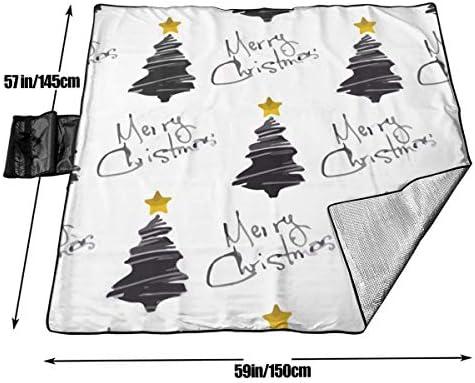 N/A - Coperta da picnic per esterni, impermeabile, con albero di Natale, a prova di sabbia, ideale per campeggio, escursionismo, erba, viaggi
