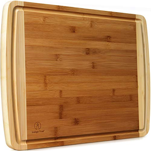 Extra Large Bamboo Cutting Board for Kitchen with Juice Groove - 17.5 x 13.5 x 0.75 inch (Cutting Board With Well)