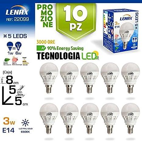 Lote de 10 Bombillas LED Globo de Bajo Consumo 3 W, E14, 6500 K White Lenax Blanco: Amazon.es: Iluminación