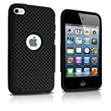 iPod Touch 4 Case, MagicMobile® Dual Ultimate Protection Shockproof Impact Resistant Case for iPod Touch 4 / 4th Hybrid [Black] Soft Silicone [Black] Hard Mesh Plastic Armor Cover for iPod 4 / 4th Generation