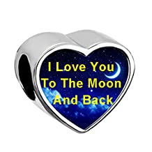 New Heart I Love You To The Moon and Back Charms Moon Star Jewelry Bead Fit Pandora Bracelets