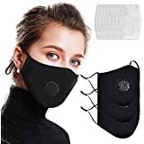 Facial Protection Cover with Breathing Valve, Reusable, Washable, Anti-Fog, Dust-Proof, Adjustable Soft Elastic Earloops Full