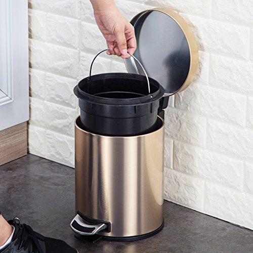 Hamhui Stainless Steel Dustbin For Household Foot Toilets,12L Glazing And Sanding