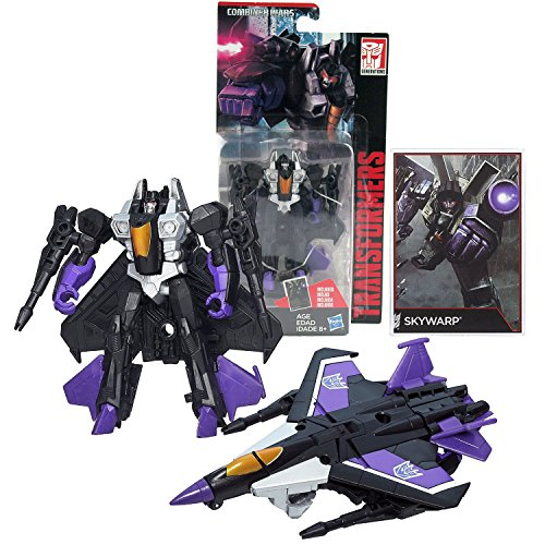 Hasbro Year 2014 Transformers Generations Combiner Wars Series 4 Inch Tall Legends Class Robot Action Figure - Decepticon SKYWARP with 2 Blasters and Collector Card (Vehicle Mode: Fighter Jet)