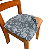 Melaluxe 2 Pack Stretch Dining Room Office Chair Seat Covers, Removable Washable Spandex Anti-Dust Upholstered Kitchen Chair Cushion Slipcovers (Big Size)
