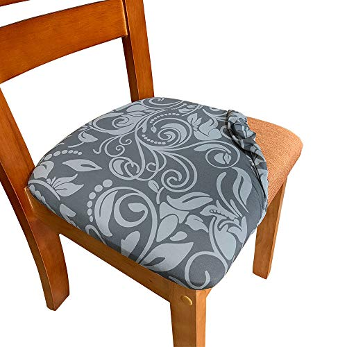 Melaluxe 2 Pack Stretch Dining Room Chair Seat Covers, Removable Washable Spandex Anti-Dust Upholstered Kitchen Chair Seat Cushion Slipcovers