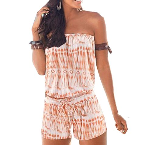 Orange Prison Jumpsuit Womens (Pofachawis Women Tube Top Strapless Printed Beach Short rompers jumpsuits Orange XS)