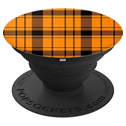 Solid Orange Prep School Punk Plaid Pattern Popsocket - PopSockets Grip and Stand for Phones and Tablets ()