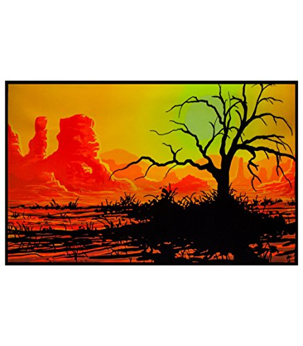 Desert Willow Flocked Blacklight Reactive Poster Blacklight