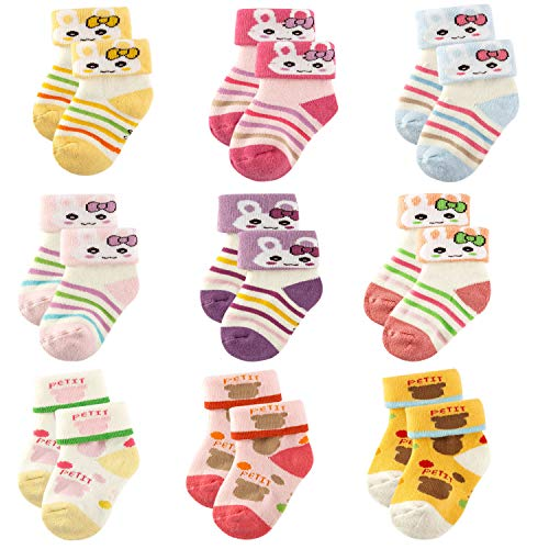 Growth Pal 9 Pack Thick Cotton Colorful Socks for Baby Toddlers Girls 3-5 Years