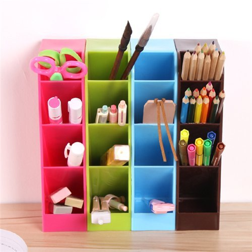 AUCH 4Pcs Multi Functional Useful Plastic Office Desk Sorter/Organizer  Pencil Holder Desktop Cosmetics Container Jewelry Box Store Content Box  With 4 ...
