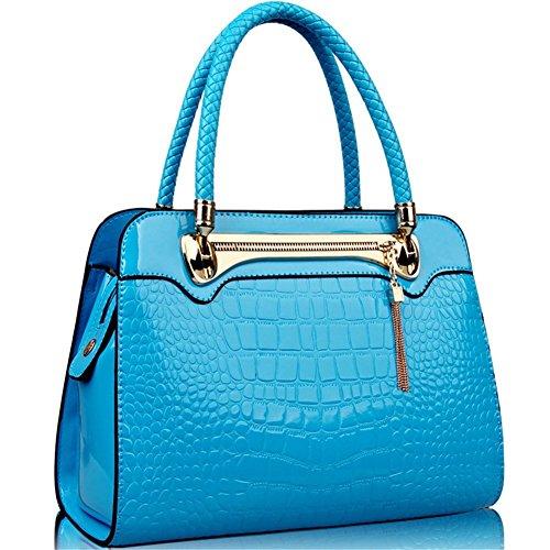 qckj Mode Croix Corps Sac à bandoulière femmes PU avec motif crocodile bleu bandbag