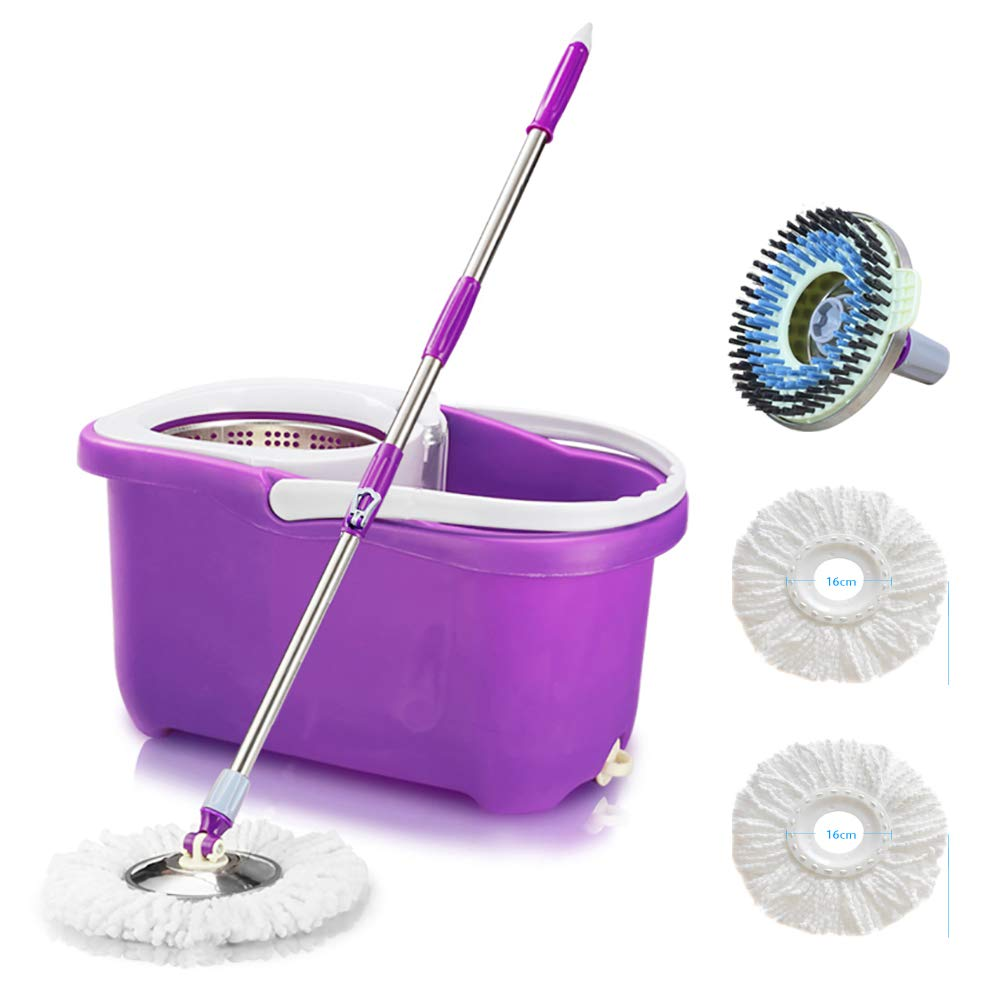 Jamo Spin Mop Bucket Floor Cleaning System Stainless Steel 360 Rolling Included Easy Press Handle with 2 Microfiber Mop Heads 1 Plastic Brush