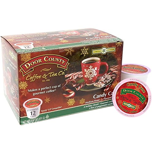 Door County Coffee Single Serve Cups for Keurig Brewers (Candy Cane, 12 Count)