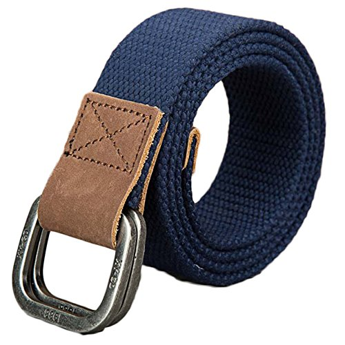 BULUOLANDI Canvas Belt Gunblack Metal D Ring Buckle Webbing Belt