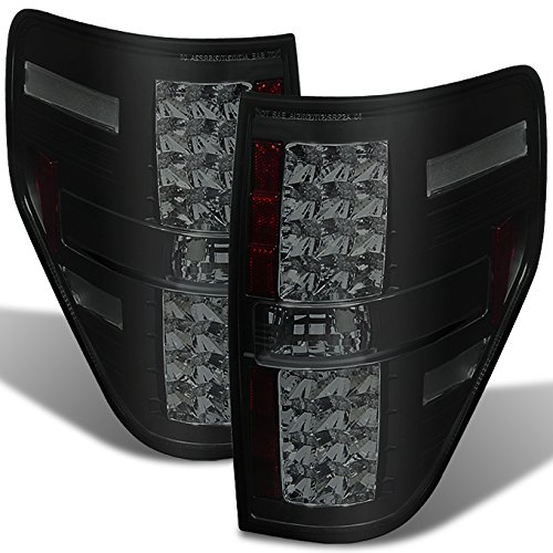 For 09-14 Ford F150 Pickup Truck Rear Black Smoke LED Tail Lights Brake Lamps Taillamps Replacement