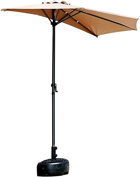 LNDDP Sombrillas 2.7 m (9 pies) Balcón Patio Media sombrilla Sombrilla con manivela, Paraguas Circular semicircular para jardín terraza pequeña al Aire Libre (Color: Caqui): Amazon.es: Deportes y aire libre
