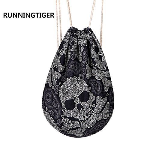 Skull Drawstring Backpack (Runningtiger Fashion Skull Printed Drawstring Backpack Bags For Men Teenagers Boys (Big Skulls))