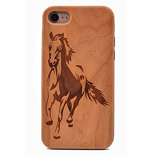iPhone 7 Wood Case Running Horse Handmade Carving Real Wood Case Wooden Case Cover with Soft TPU Back for Apple iPhone 7,iPhone 8 (2017) - Equestrian Running Horses