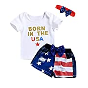 PROBABY Toddler Girl Summer Clothes Set Letters Printed White Shirt Tops + Denim Shorts+ Headband 3Pcs Outfits (6-12 Months, A)