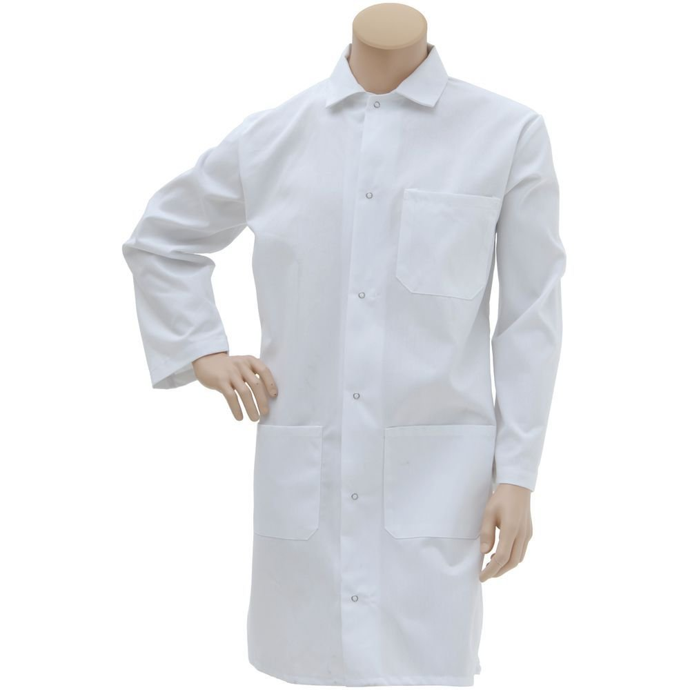 Pinnacle Textiles White Polyester Long Butcher Frock - Extra Large