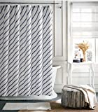 Tommy Hilfiger Fabric Shower Curtain Diagonal Blue Stripes on White -- River Rain