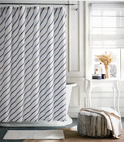Tommy Hilfiger Fabric Shower Curtain Diagonal Blue Stripes on White -- River Rain