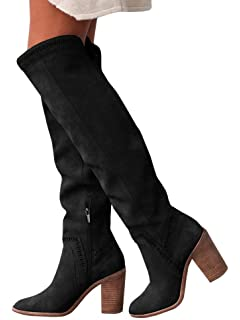6342cc59793 Ermonn Womens Over The Knee Leather Boots Vegan Suede Chunky Thigh High  Riding Boots