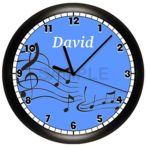 Susie85Electra Personalized Music Notes Wood Wall Clock Modern Decorative Non Ticking for Living Room Kids Bedrooms 12 Inch ()