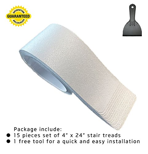 15-Pack(4''x 24''),Non-Slip Clear Adhesive Stair Treads,Translucent Safety Stair Traction Hardwood Treads,PVC-FREE Anti Slip Clear Adhesive Strips,Baby/Elder/Pet Safety,Indoor/Outdoor by Any Beauty (Image #3)