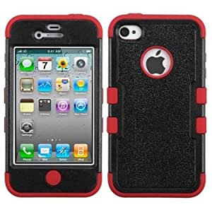 Issmor - MyBat IPHONE4AVHPCTUFFSO302NP Rugged Hybrid TUFF Case for iPhone 4 - Retail Packaging - Black/Red