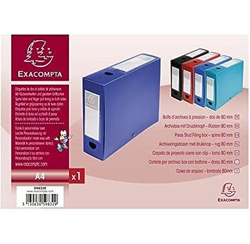 Exacompta - Lote de 10 cajas de archivo de presión PP ancho de 80 mm azul: Amazon.es: Oficina y papelería